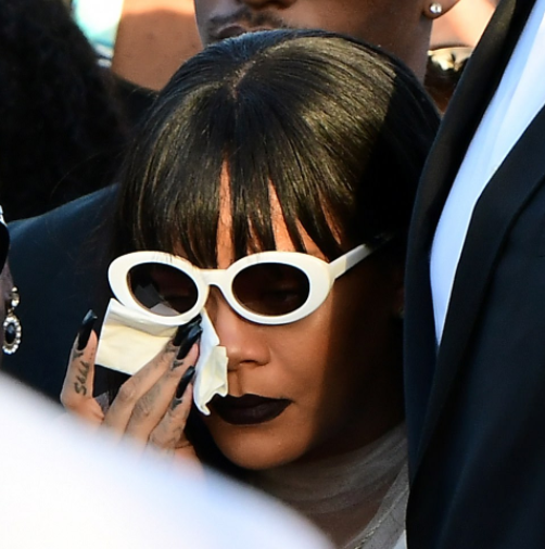 Rihanna wipes away tears at funeral of herc ousin Tavon Alleyne, 21, who was shot dead in Barbados (photos)