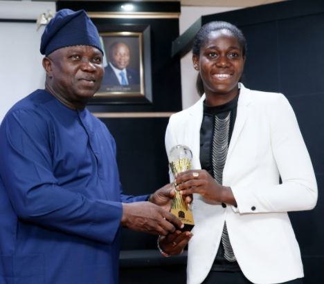 Photo: Gov. Ambode recieves 3-time African Female Footballer of the Year, Asisat Oshoala at the state house