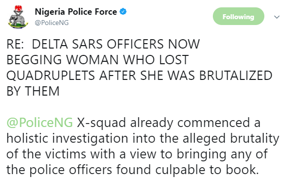 Police begins investigation into the brutalization of a pregnant woman who lost her set of quadruplets in Delta, says her assaulters are not SARS officials