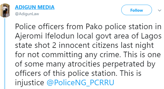 Protest in Ajeromi, Lagos, as policemen allegedly shoot dead 2 innocent unarmed residents