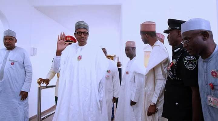 Photos:  Governor El-Rufai, Yahaya Bello, Ganduje Abdullahi, join President Buhari for the Friday prayers at the state house in Abuja