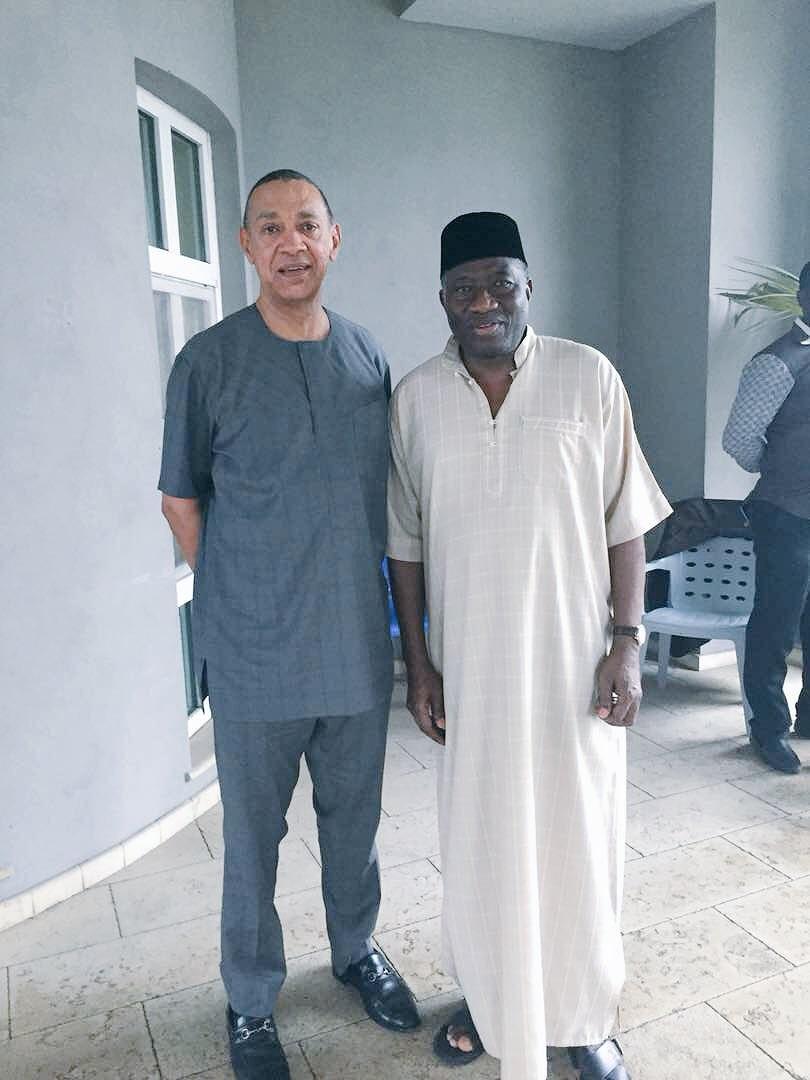 Photo: Senator Ben Bruce pays ex-president, Goodluck Jonathan, a visit in Bayelsa