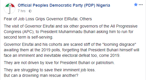 PDP reacts to 7 APC governors endorsing President Buhari for a second term