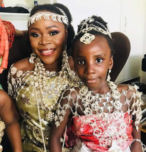 #TOY18: Adorable photo of Omawumi and her daughter, Kamillah, at her wedding in Warri, Delta state