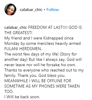 Actress, Calabar Chic and her friends who were kidnapped by herdsmen regain freedom after 5 days
