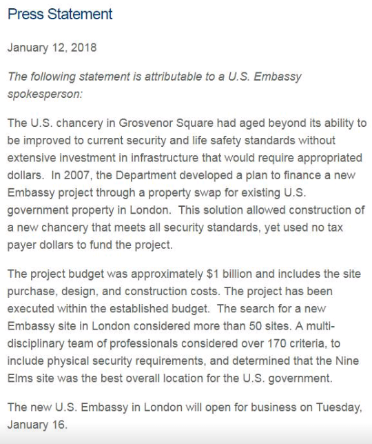 US embassy in London issues statement after Trump