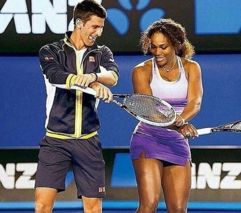 Photo: Tennis stars, Novak Djokovic and Venus Williams doing the