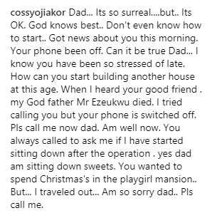 Cossy Ojiakor loses dad, posts touching tribute
