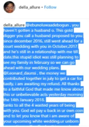 Lady whose introduction is set for next month calls out her fiance after finding out he married another woman 3 months back