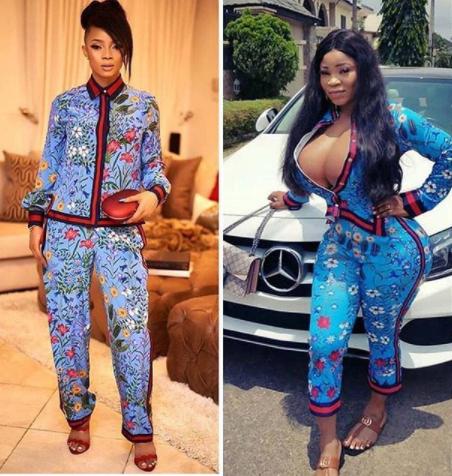 Who wore it better? Toke Makinwa vs Roman Goddess in head to toe Gucci..