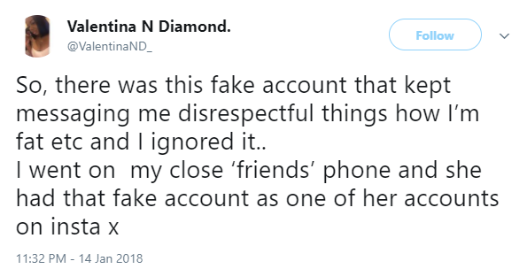 Lady finds out her friend has been using a fake account to fat-shame her on social media
