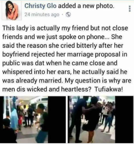 Shocking update! Lady whose boyfriend rejected her proposal allegedly reveals he whispered into her ears that he is married