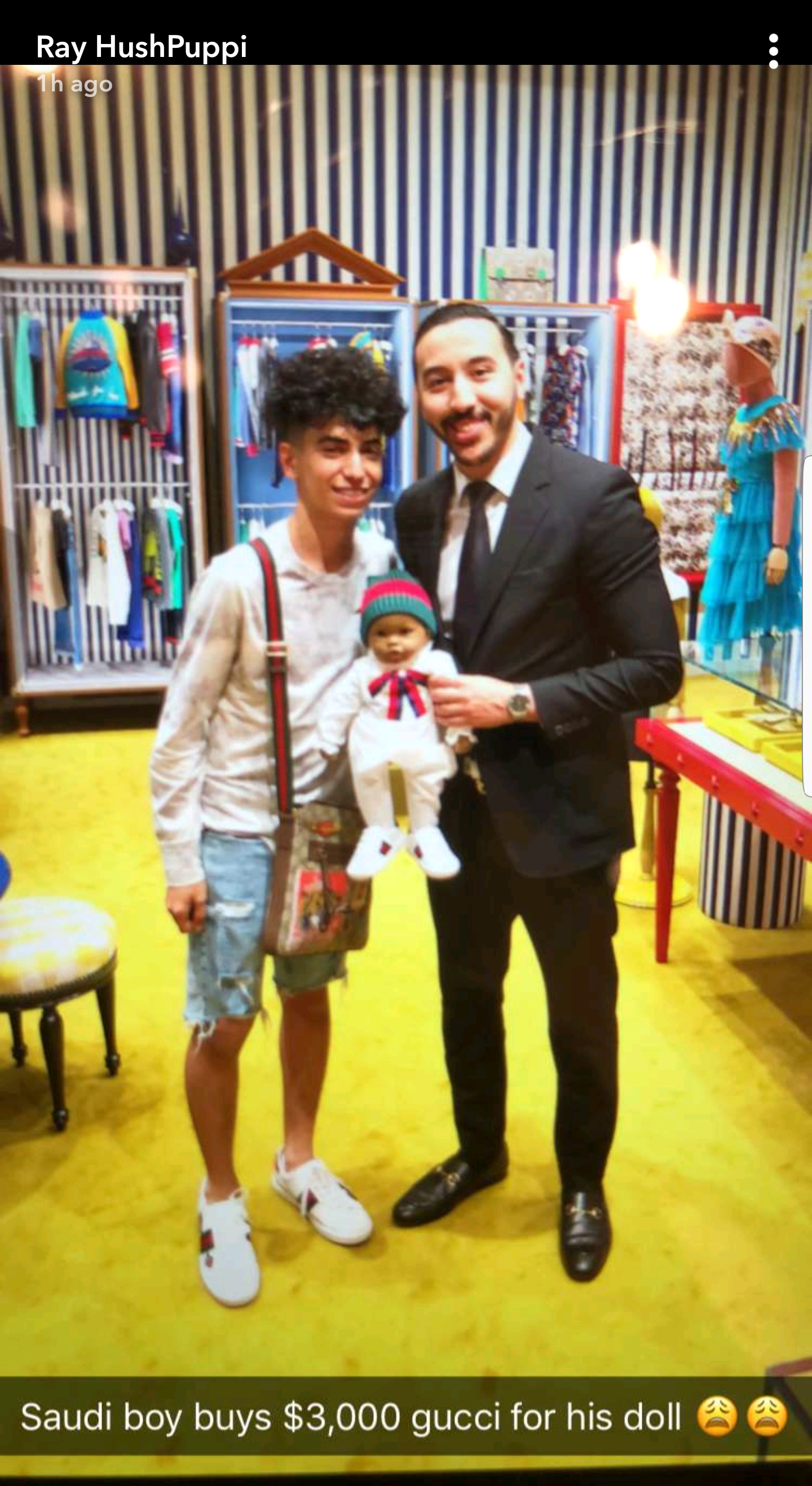 Is he okay?... Saudi Arabian teenager buys $3000 Gucci outfit for his childlike doll