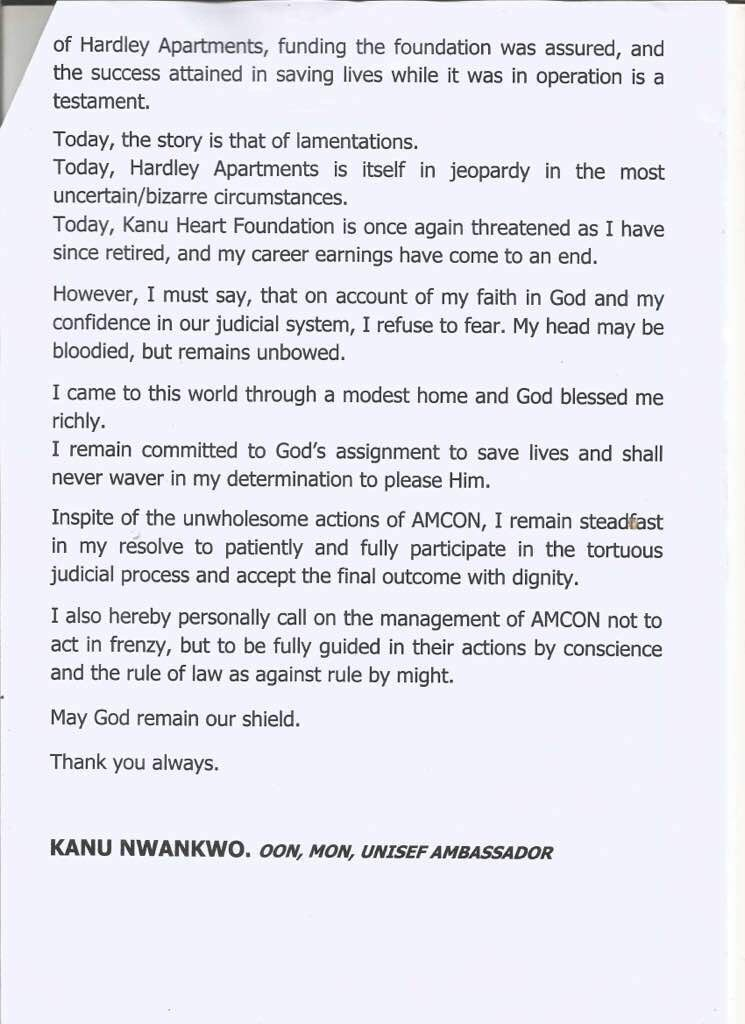 AMCON is making funding very difficult for my foundation- Kanu Nwankwo says as AMCON takes full possesion of his Lagos hotel