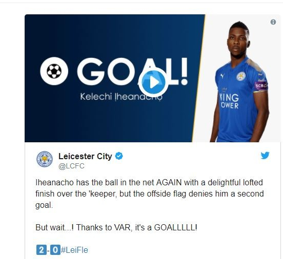 Iheanacho makes history, scores first goal in English football awarded by VAR?(Video)