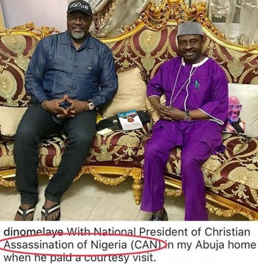 Hilarious moment Dino Melaye mistakenly captions his photo with CAN president as ?assassination? instead of ?association?