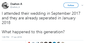 Twitter stories: Couple who got married in September 2017 separates in January 2018