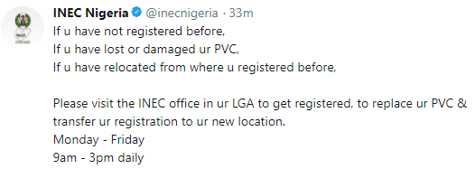 INEC releases information on how Nigerians with lost or damaged PVC can get theirs back