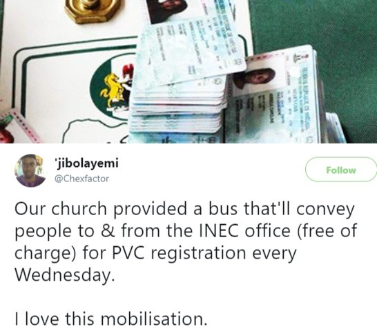 2019 election: Church provides bus for its members to enable them pick up their Voters card at INEC office