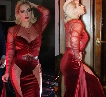 Lady Gaga stuns in crimson gown as she makes a dramatic entrance to dinner in Milan (Photos)