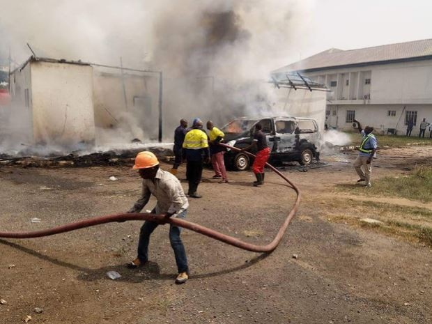 Photos: Official residence of?Imo State deputy governor razed by fire?