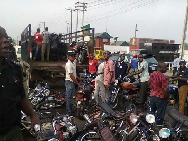 Photos: Lagos State Task Force impounds over 120 motorcycles for operating on restricted routes