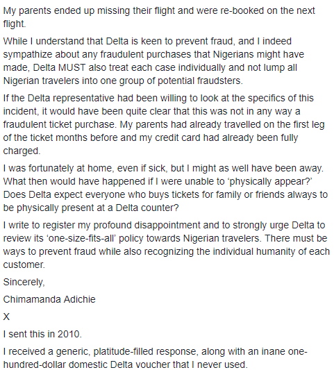 Chimamanda Adichie calls Delta Airlines out on their treatment of Nigerian customers and how unpleasant their representatives are