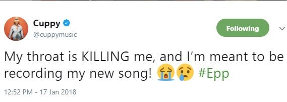 """See Hilarious Replies DJ Cuppy got from Her """"My Throat is Killing me, and I'm meant to be recording my new song"""" tweet"""