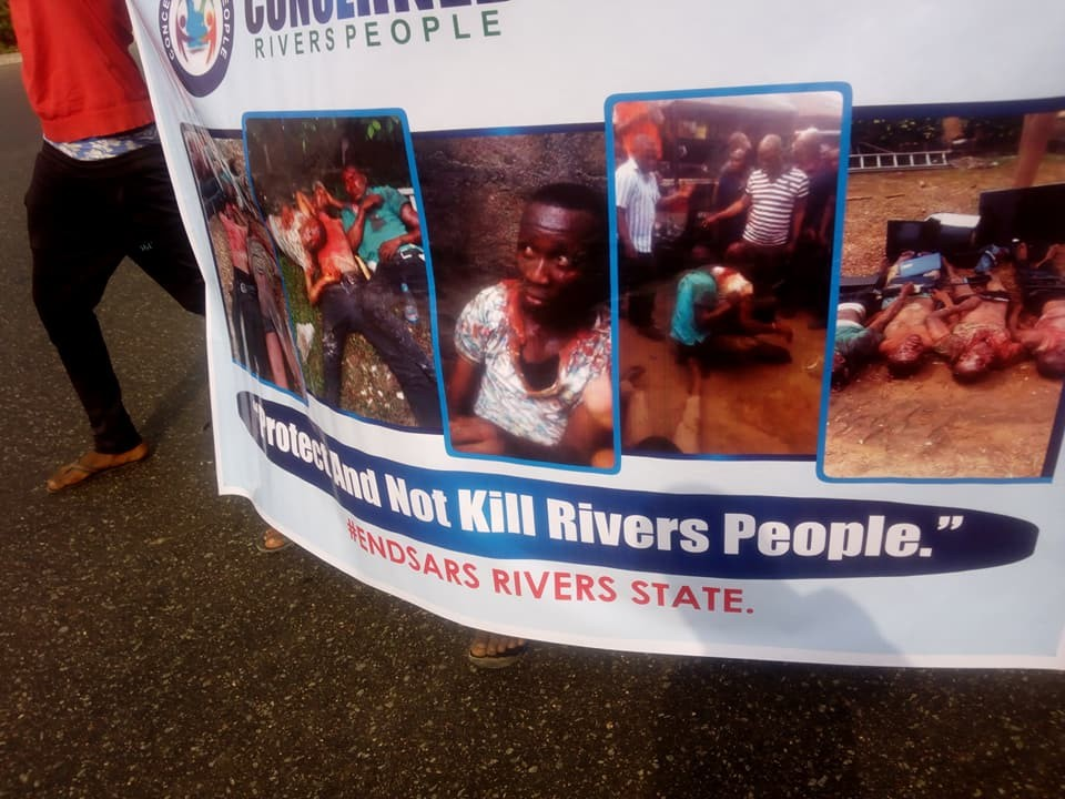 Photos: Rivers state indigenes stage protest demanding the end of SARS in the state