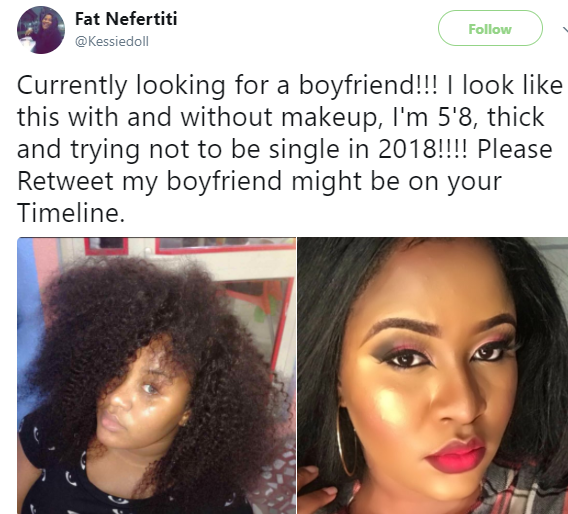 Beautiful Nigerian lady launches search for a boyfriend on twitter