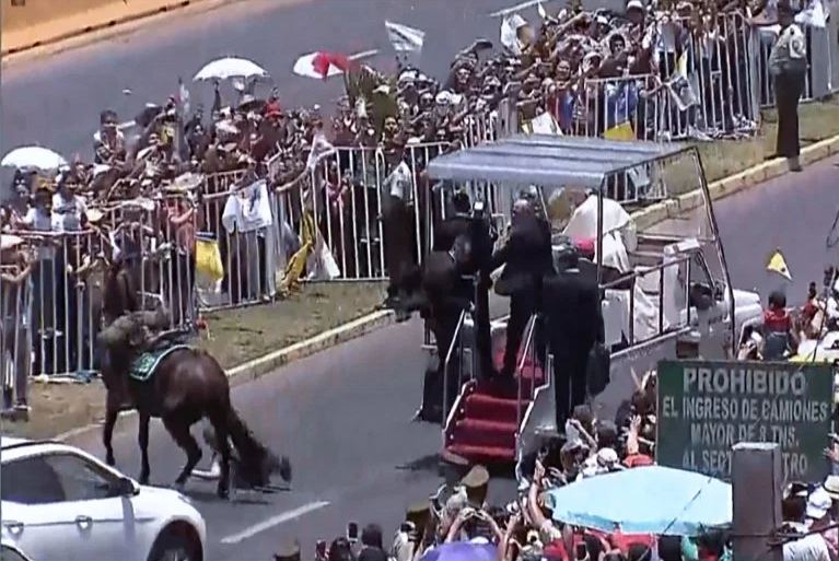 Pope jumps from Popemobile to help officer when she fell off her horse (video)