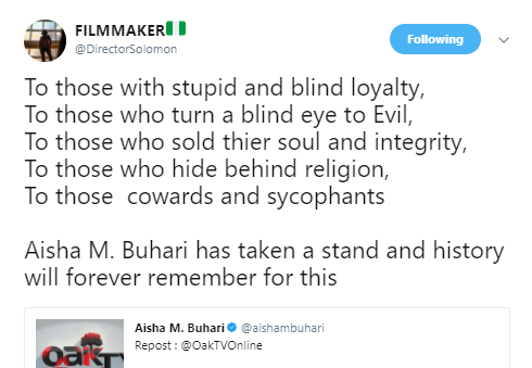 Nigerians praise Aisha Buhari for boldly re-tweeting videos that are not in favour of APC-led government