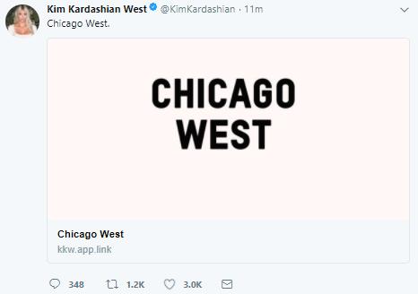 Lol. Kim Kardashian and Kanye West name their daughter, Chicago!