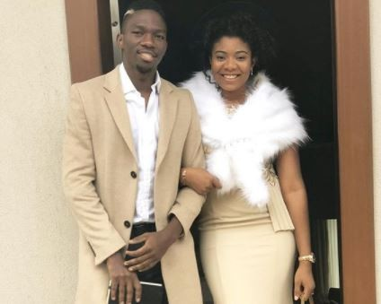 Newly married Super Eagles player, Kenneth Omeruo and his wife step out in style for thanksgiving