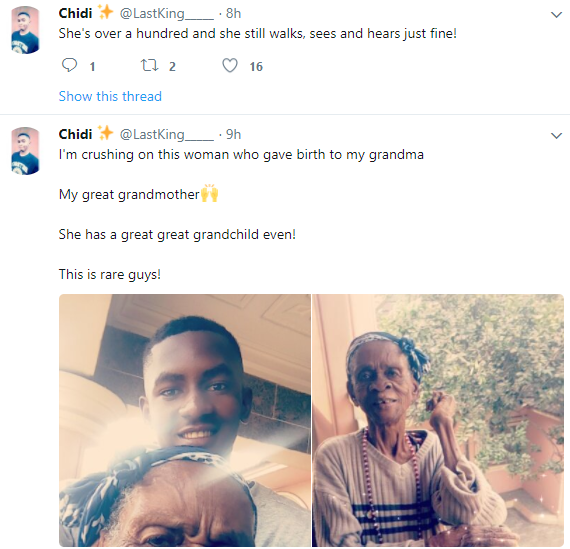 Great grandson celebrates his  great grandmother who is over 100