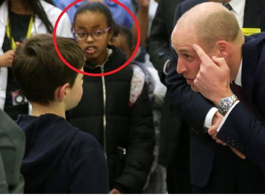 Photos: Can anyone guess why this little girl was staring at Prince William this way?