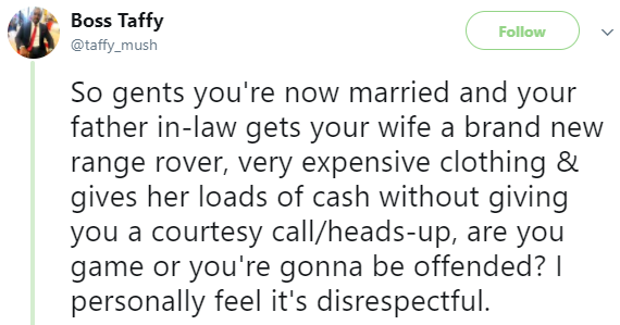 Nigerian man says he will feel disrespected if his father in-law buys his wife a Range Rover and gives her money without informing him first