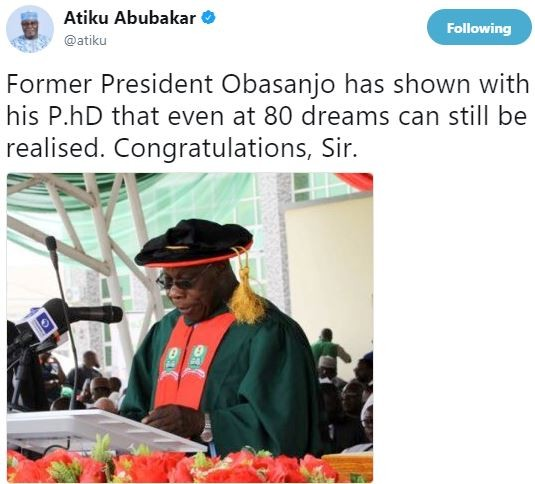 Atiku celebrates?President Obasanjo for bagging a P.hD at 80