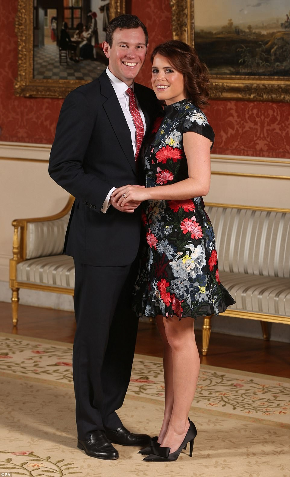 Princess Eugenie shows off her sapphire ring as she poses with Jack Brooksbank after engagement announcement (photos)
