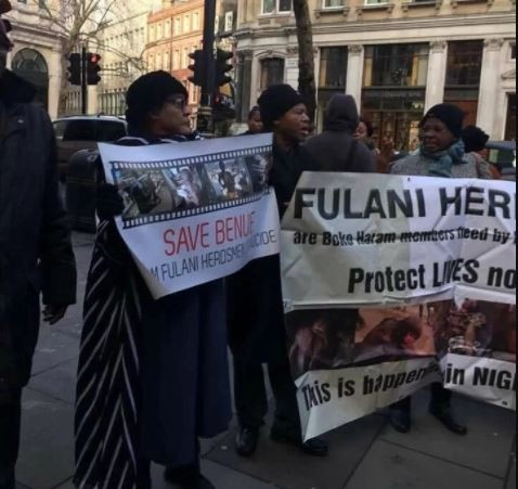 Photos: Nigerians in London protest over Fulani herdsmen killings