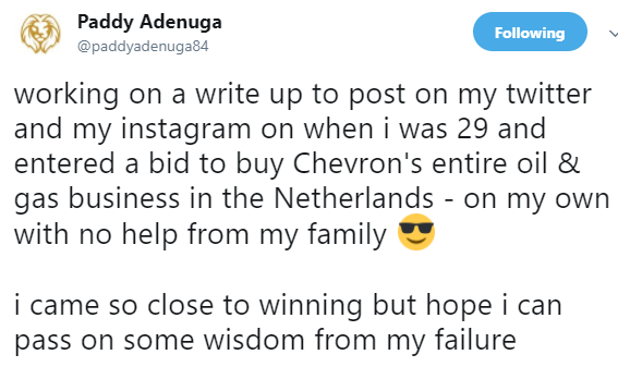 Billionaire son, Paddy Adenuga, says at 29 and without his family