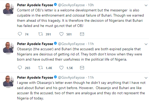 Fayose reacts to Obasanjo