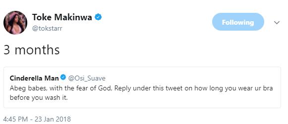 Lol! Toke Makinwa says she wears her bra for 3 months before washing
