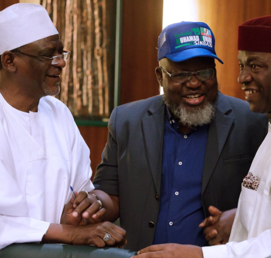 Photos: Minister of Communication, Adebayo Shittu, begins his 2019 campaign for President Buhari, rocks campaign cap to FEC meeting today