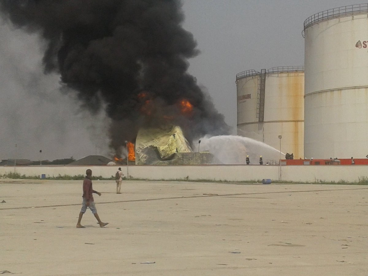 Stallionaire Tank Farm in Ojo, Lagos, is currently on fire (Photos/Video)