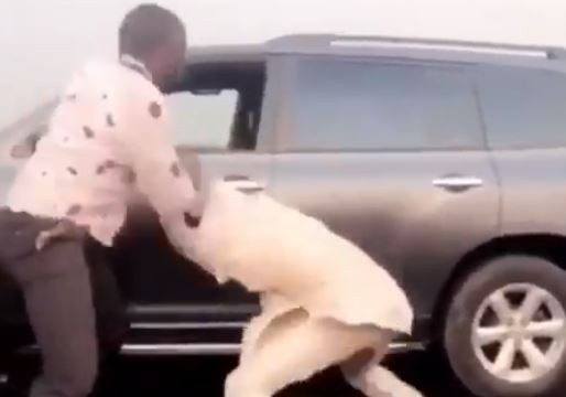 Two Nigerian drivers exchange heavy blows during a serious fight on Third Mainland Bridge (Video)