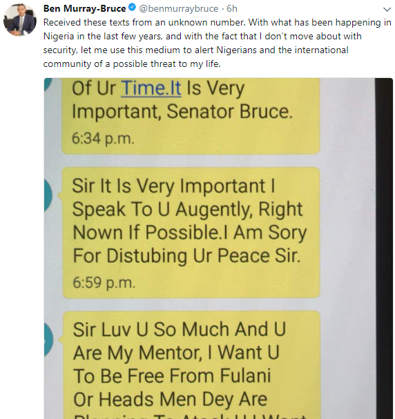 Ben Bruce raises alarm after receiving threat message alleging herdsmen are planning to attack him