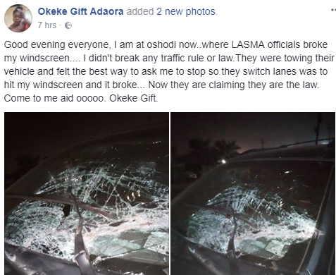 Lady cries out after LASTMA officials allegedly broke her windscreen while attempting to switch lanes