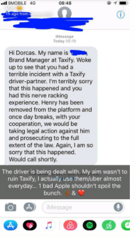 Actress, Dorcas Shola Fapson narrowly escapes being abducted and raped by a Taxify driver, after she used pepper spray on him