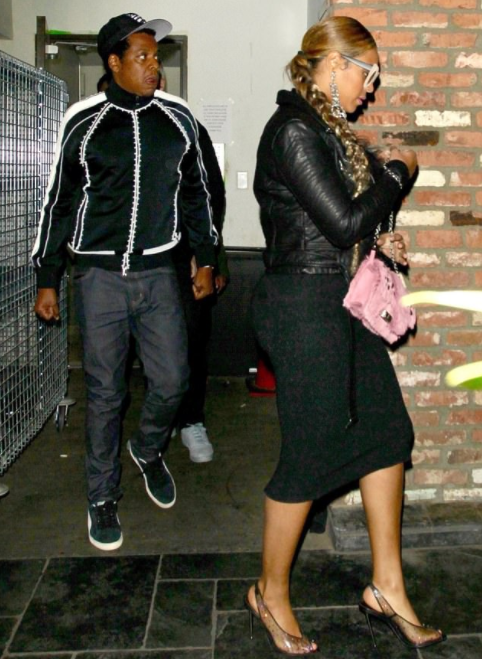 Beyonce shows off her curves in tight skirt and leather jacket as she dines in Hollywood with Jay Z